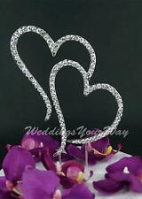Rhinestone Cake Topper Double Heart Silver Wedding Engagement Anniversary Bling1