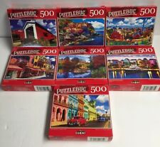 "Lot Of 7 Puzzlebug 500pc 18.25"" X 11"" Puzzles, New, Sealed"