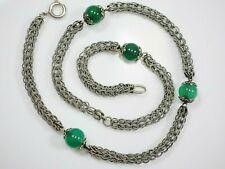 Hübsche 925 Silber Kette Chrysopras Grün Tolles Design Vintage Retro Elegant