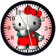 Hello Kitty Black Frame Wall Clock Nice For Decor or Gifts Z54