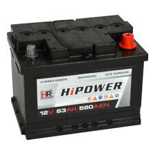 HR HiPower Autobatterie 12V 63Ah 540A ersetzt 44Ah 50Ah 54Ah 55Ah 60Ah 62Ah 64Ah