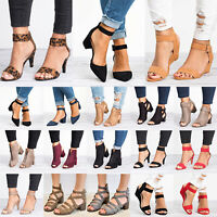 Womens Ankle Strap Low/Mid Block Heels Buckle Pumps Sandals Summer Party Shoes