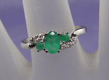 .71 CT Total Weight Genuine Emerald and Diamond Ring – 10KT White Gold