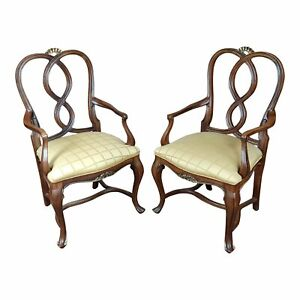 Ralph Lauren Traditional English Style carved Armchairs -A pair
