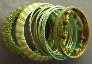 BANGLES/BRACELETS GREEN RESIN GLASS BRASS GOLD FINISHED   2.5-17 MM WIDE