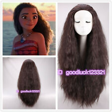 2016 New Movie Moana Wig long curly brown cosplay costume wig +a wig cap