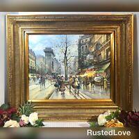 Oil Painting French Street Scene - Vintage Gilded Gold Frame