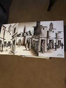 3 X African/ Arabic Paintings Signed Sizes 12 Inches X Eight 2 @ 12 X 7 Half