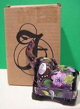 LENOX FENTON Violet Purple ELEPHANT Trinket BOX  Art Glass NEW inBOX Made in USA