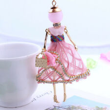 Lovely Girls Shaped Doll Full Rhinestones Pendant Necklaces Long Sweater Chain Pink