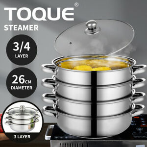 TOQUE Stainless Steel Steamer Meat Vegetable Cookware Kitchen Pot Tool 3/4 Tier