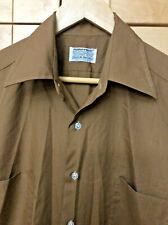 Vintage 60's Mens Mid Century Mod Brown Button Front Dress Shirt L 15-15 1/2
