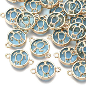 10pcs Light Sky Blue Glass Links Connectors Flat Round Charms Craft 13.5x19.5mm