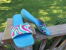 Espace aqua multi color summer rubber sole slides *8