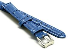 14mm Blue HQ Alligator Grain Leather Watch Band With 2 Spring Bar