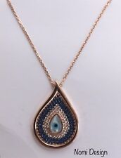 925 Sterling Silver Drop Shaped Evil Eye  Turkish Necklace