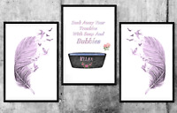 Bathroom set of 3, wall prints, poster, bath, UK, art Pictures A4