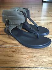 Mia Girl's 'Kimberly' Ankle-Hooded Style Thong Sandals sz 3 M Olive / Brown