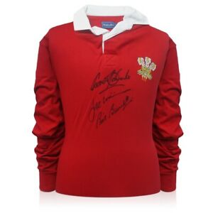 Wales Rugby Jersey Signed By Gareth Edwards, JPR Williams And Phil Bennett