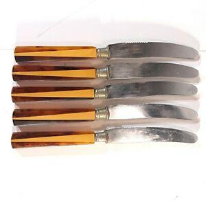 5 Mid-Century Bakelite Catalin Knifes Solingen Forks Rostfrei