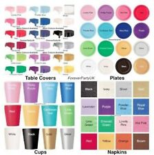 Plain Solid Colour Tableware Disposable Napkins Plates Cups Birthday Party Event