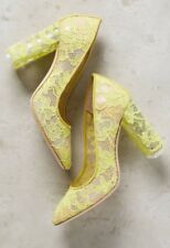 NEW Anthropologie Deimille Yellow Lace Heels Size 36