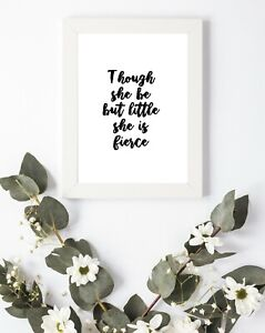 Typography Print A4 Quote Gift Nursery Newborn Fierce Baby A4 Wall Shabby