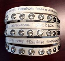 Humanity Inspire with Kindness Cuff Bracelet w Studs Crystals Cream White