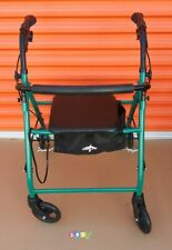 MEDLINE GUARDIAN 4 Wheel GREEN Walker W Seat & Brakes Folds Up GREAT CONDITION