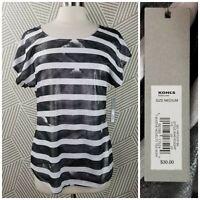 New Apt 9 Top Size Medium Silver Metallic Stripe Tee Shirt Womens charcoal gray