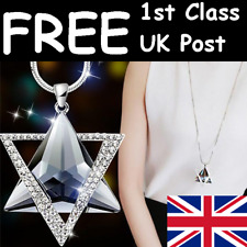 """LARGE & LONG RHINESTONE & CRYSTAL TRIANGLES PENDANT & NECKLACE - CHAIN 28""""-30"""""""