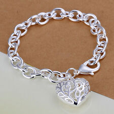Women's 925 Sterling Silver Bracelet Heart Beads Size 8 Inches 3MM Lobster L39