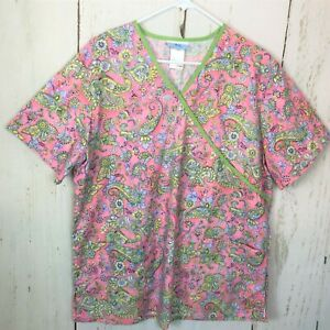 WOMENS SCRUB Top PInk Green Paisley Floral SIMPLY BASIC MOCK WRAP Sz L EUC
