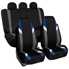Supreme Modernistic Auto Car Seat Covers Blue Black 2 Row Set High Back Front