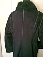 Anne Klein L black microfiber warm faux fur lined with collar vegan shabby chic