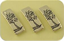 2 Hole Beads Tree of Life Engraved Bars ~ Burnished Silver Metal Sliders ~ QTY 3