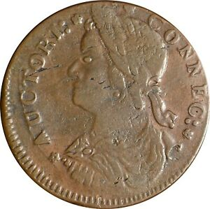 1787 Connecticut Colonial Copper Coin , Miller 33.5-T.2 Skeleton Hand Reverse