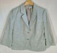 Women's Pendleton 3/4 Sleeve Button Up Blazer Size 14 Blue Green Mint Plaid