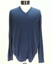 POLO RALPH LAUREN Sweater Shirt Shale Blue PIMA Cotton V Neck Pony Mens XL $98