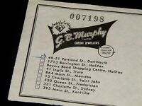 Vintage Sales Receipt,1956 JEWELRY RECEIPT, Dartmouth, NS,Micheal Wallace School