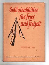 Soldatenblätter für Feier und Freizeit. Livret du soldat allemand en vacances 41