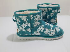 New! UGG Australia Turquoise Suede White Floral Sheepskin Lined Ankle Boots..6US