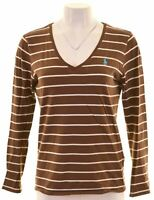 RALPH LAUREN Womens Top Long Sleeve Size 14 Medium Brown Striped Cotton  NI13