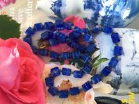 VINTAGE ART DECO CZECH BLUE POURED GLASS CUBE BEADS NECKLACE