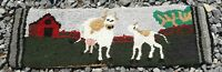 "Vintage Primitive Cows & Barn Farm Folk Art Hand Made Table Runner 26"" x 8"""