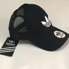 Black White Adidas Baseball Trucker Mesh Hat Cap Trefoil Logo Adjustable On Sale