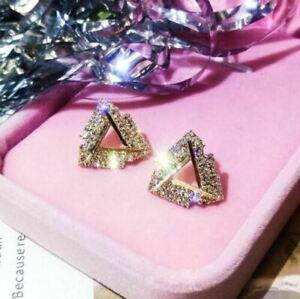 3Ct Round Cut VVS1/D Diamond Trillion Shape Stud Earrings 14K Yellow Gold Finish