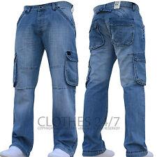 New Mens AD Designer Dark Cargo Combat Denim Jeans Pants All Waist & Leg Sizes