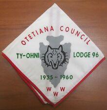 Vintage 1960 Boy Scouts WWW Otetiana Council Ty-Ohni Lodge 96 Wolf Neckerchief