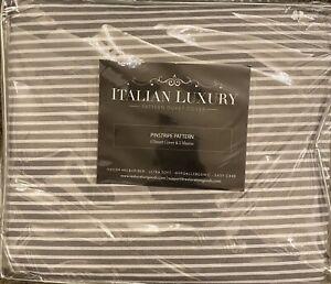 Italian Luxury 3 Pc Pinstripe Pattern Duvet Cover Set, Gray/White, Full/Queen